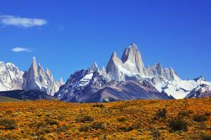 The Magnificent Mountain Range - Mount Fitzroy in Patagonia, Argentina. Summer Sunny Noon by kavram