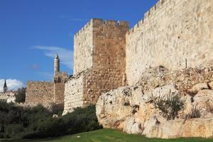 Walls of Ancient Jerusalem. Serene Autumn Day, a Sunset by kavram