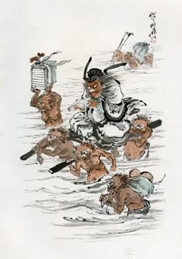 Shoki and Attendant Demons, 1898 by Kawanabe Kyosai