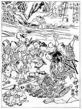 Young Kyôsai Sketching the Severed Head, 1898 by Kawanabe Kyosai