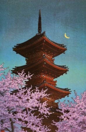 Pagoda in Moonlight by Kawase Hasui
