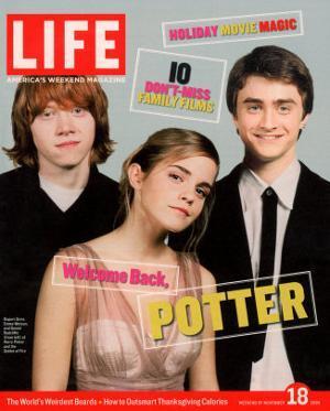 Co-stars of Harry Potter films Rupert Grint, Emma Watson and Daniel Radcliffe, November 18, 2005 by Kayt Jones