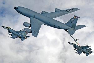 KC-135 Statotanker (Refueling F-16 Fighting Falcons) Art Poster Print