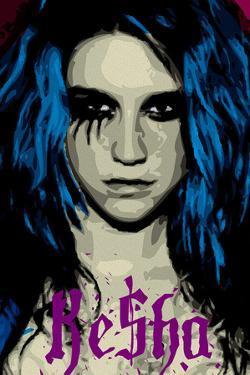 Ke$ha Kesha Face Picture Blue Music Poster Print