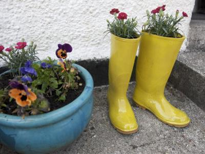 Ceramic Yellow Boots Function as Planter, Inner Hebrides by Keenpress