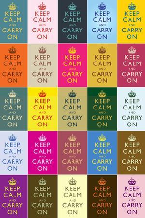 Keep Calm and Carry On Colorful Collage Plastic Sign