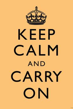 Keep Calm and Carry On (Motivational, Beige) Art Poster Print