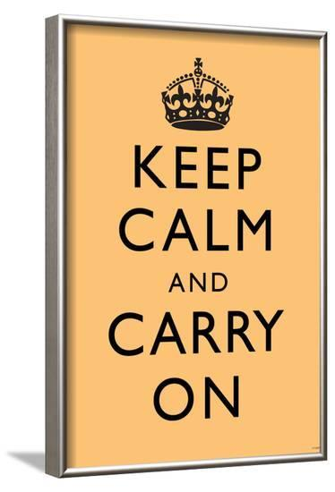 Keep Calm and Carry On (Motivational, Beige) Art Poster Print--Framed Poster