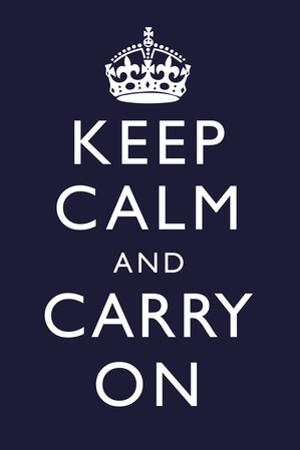 Keep Calm and Carry On (Motivational, Dark Blue) Plastic Sign