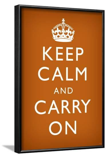 Keep Calm and Carry On (Motivational, Faded Brown) Art Poster Print--Framed Poster