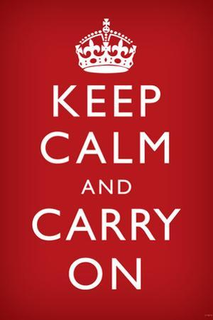 Keep Calm and Carry On (Motivational, Faded Red) Art Poster Print