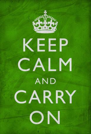 Keep Calm and Carry On (Motivational, Green, Wrinkled) Art Poster Print