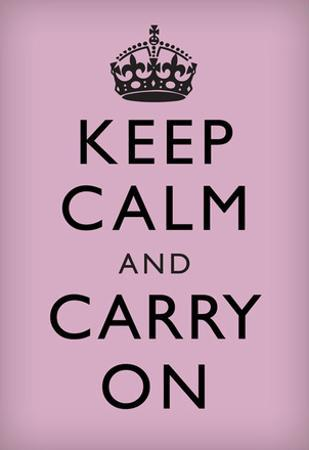 Keep Calm and Carry On (Motivational, Lilac) Art Poster Print