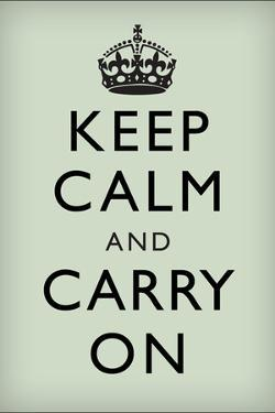 Keep Calm and Carry On (Motivational, Mint Green) Art Poster Print