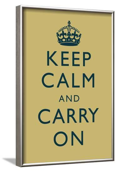 Keep Calm and Carry On Motivational Muted Yellow Art Print Poster--Framed Poster