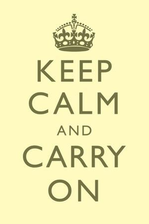 Keep Calm and Carry On Motivational Pale Yellow Art Print Poster