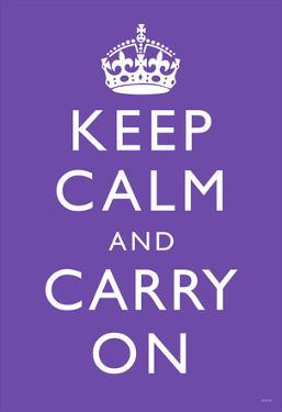 Keep Calm and Carry On (Motivational, Purple) Art Poster Print