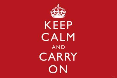Keep Calm and Carry On (Motivational, Red, Horizontal) Art Poster Print