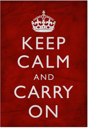 Keep Calm and Carry On (Motivational, Red, Textured) Art Poster Print