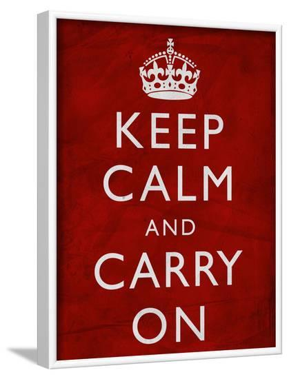 Keep Calm and Carry on (Motivational, Red, Textured) Art Poster Print--Framed Poster