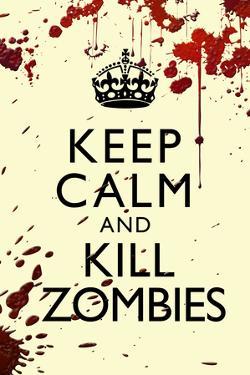 Keep Calm and Kill Zombies Humor Print Plastic Sign