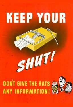 Keep Your Trap Shut Don't Give the Rats Any Information WWII War Propaganda Art Print Poster