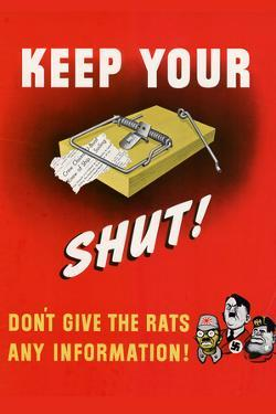 Keep Your Trap Shut Don't Give the Rats Any Information WWII War Propaganda Plastic Sign