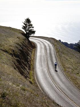 A Bicyclist Riding in Mount Tamalpais State Park, with the Pacific Ocean in the Distance by Keith Barraclough