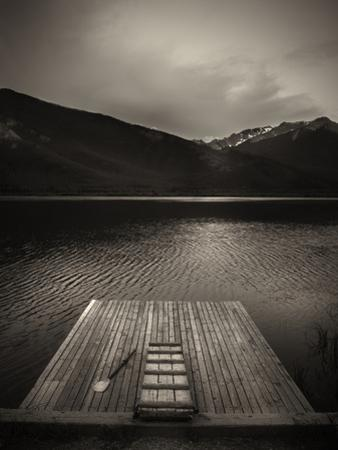 A Small Dock on Vermillion Lakes at Dusk by Keith Barraclough