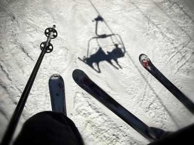 A View from the Ski Lift in Vail Colorado Showing Skis and Poles by Keith Barraclough