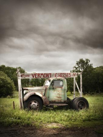 An Old Truck with a 'Vermont Cheese' Sign on a Farm in Ludlow by Keith Barraclough
