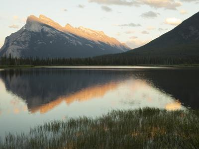 Canadian Rockies and Mount Rundle at Dusk, Seen from Vermillion Lakes by Keith Barraclough