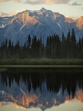 The Canadian Rockies at Dusk Seen from Vermillion Lakes by Keith Barraclough