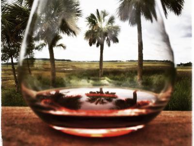 View of Savannah marsh through a wine glass. by Keith Barraclough