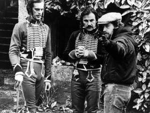 Keith Carradine, Harvey Keitel and le realisateur Ridley Scott sur le tounage du film Les Duelliste