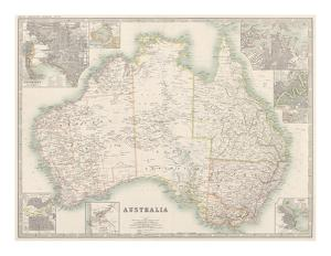 Australia Map 1880 by Keith Johnston