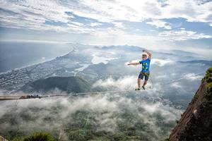 A Highliner Traverses Two Cliffs Above Rio De Janeiro by Keith Ladzinski