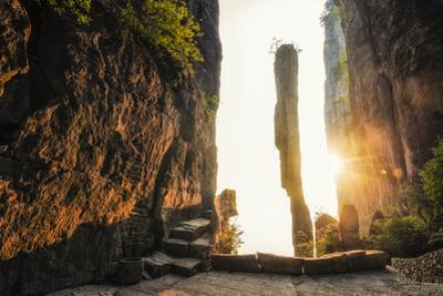 A limestone spire, One Incense Pillar, in China's Enshi Canyon. by Keith Ladzinski