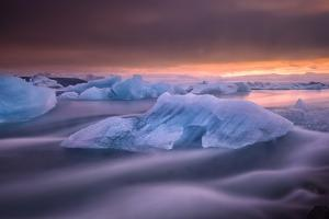 A Long Exposure of a Sunset over Glacier Bay in Iceland by Keith Ladzinski