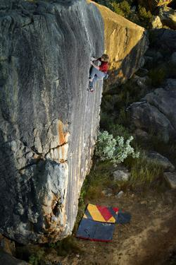 A Man Climbs Creaking Heights, a Highball Boulder Problem in the Cederberg Wilderness Area by Keith Ladzinski