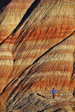 A Person Standing in a Canyon with Colorful Layers of Rock Visible by Keith Ladzinski