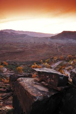 A Rock Covered in Petroglyphs in a Desert Landscape at Sunset by Keith Ladzinski