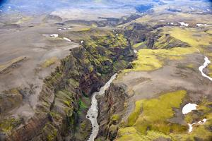 An Aerial View of a Canyon in the Interior of Southern Iceland by Keith Ladzinski