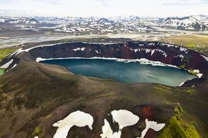 An Aerial View of a Deep Blue Crater Lake in the Interior of Southern Iceland by Keith Ladzinski