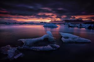 Dramatic Sunset over Glacier Bay in Iceland by Keith Ladzinski