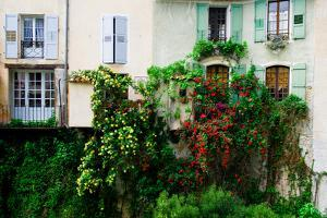 Flowers Grow Alongside Houses in Moustiers-Sainte-Marie by Keith Ladzinski