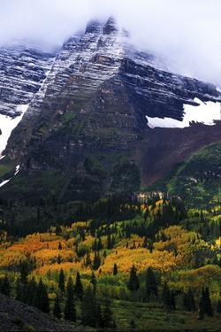 Fog-Shrouded Maroon Bells and Autumn Aspens, Colorado by Keith Ladzinski