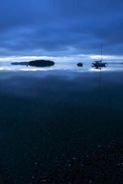 San Juan Islands Scenic with Sailboat at Twilight by Keith Ladzinski
