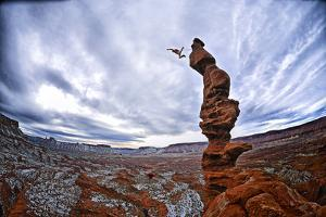 Two People Base Jump from Ancient Art at Fisher Towers by Keith Ladzinski