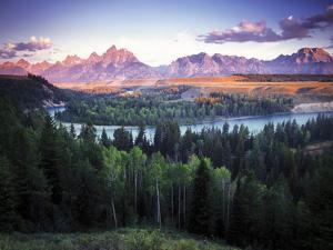 View from the Snake River Overlook with the Teton Range in the Distance at Sunrise by Keith Ladzinski